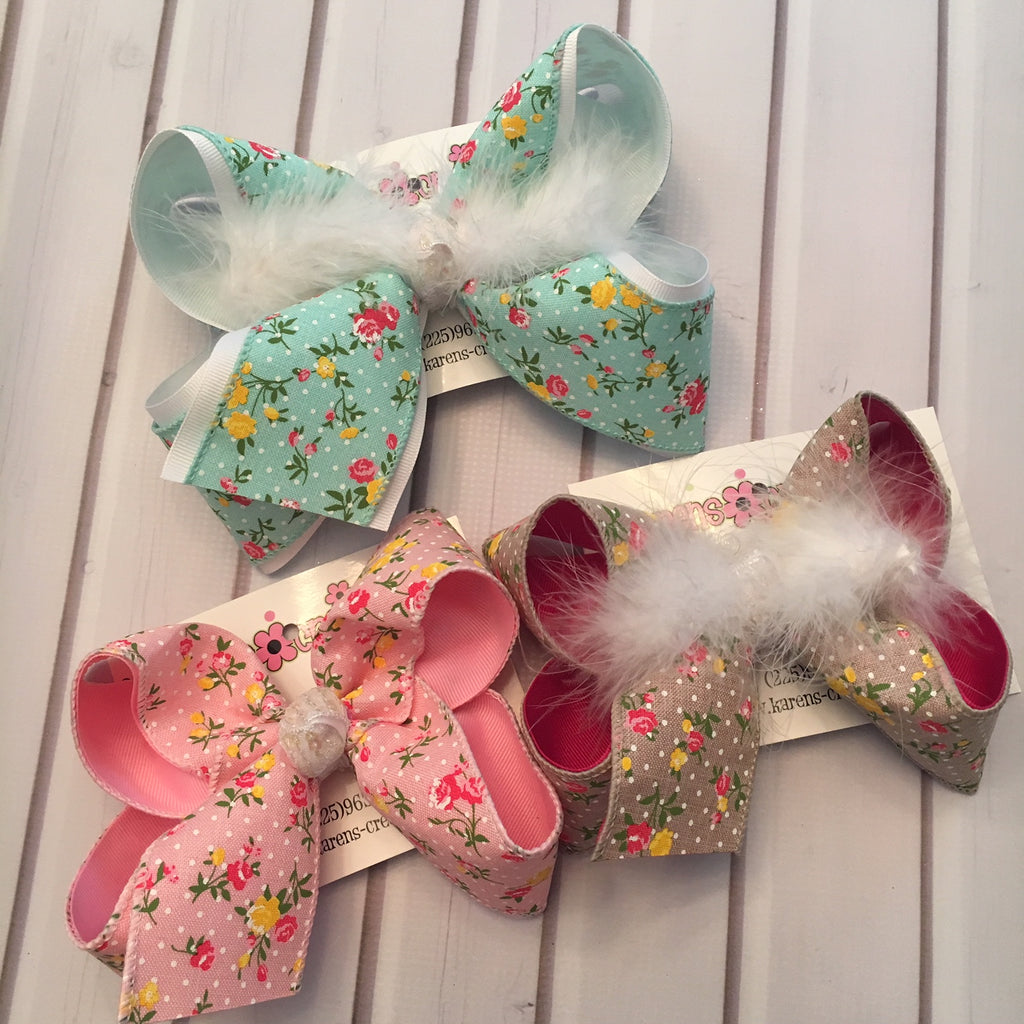Floral Polka Dots Jumbo or Large Layered Hair Bow