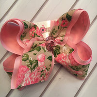 Natural Floral Print Jumbo or Large Layered Hair Bow