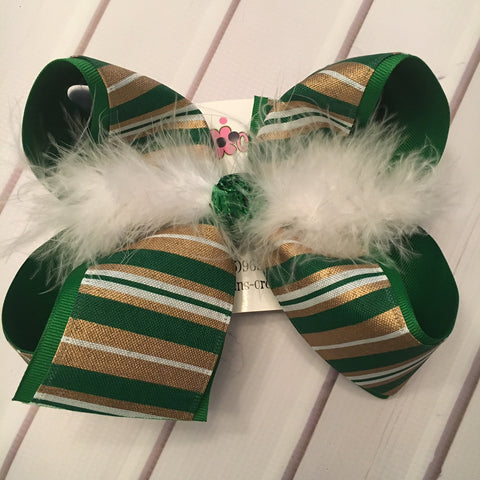 St. Patrick's Day Green/Gold Stripes Jumbo or Large Layered Hair Bow