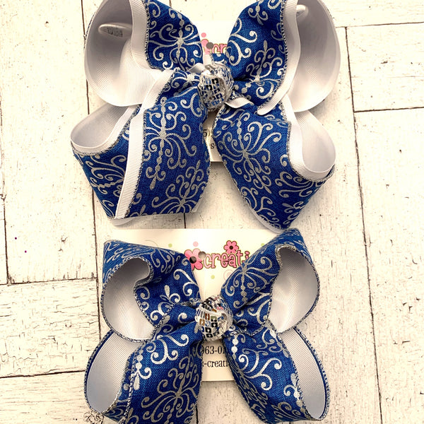 Blue Canvas w/Silver Glitter Damask Print Jumbo or Large Layered Hair Bow