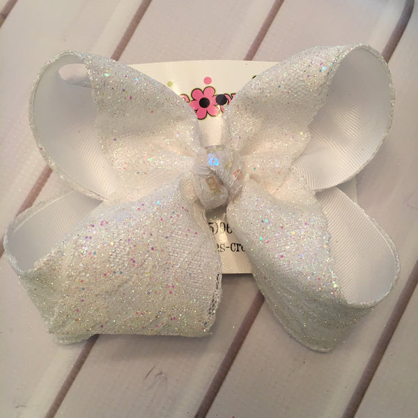 White Glitter Lace Jumbo or Large Layered Hair Bow