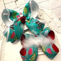 Aqua Glitter Christmas Trees Holiday Jumbo or Large Layered Hair Bow