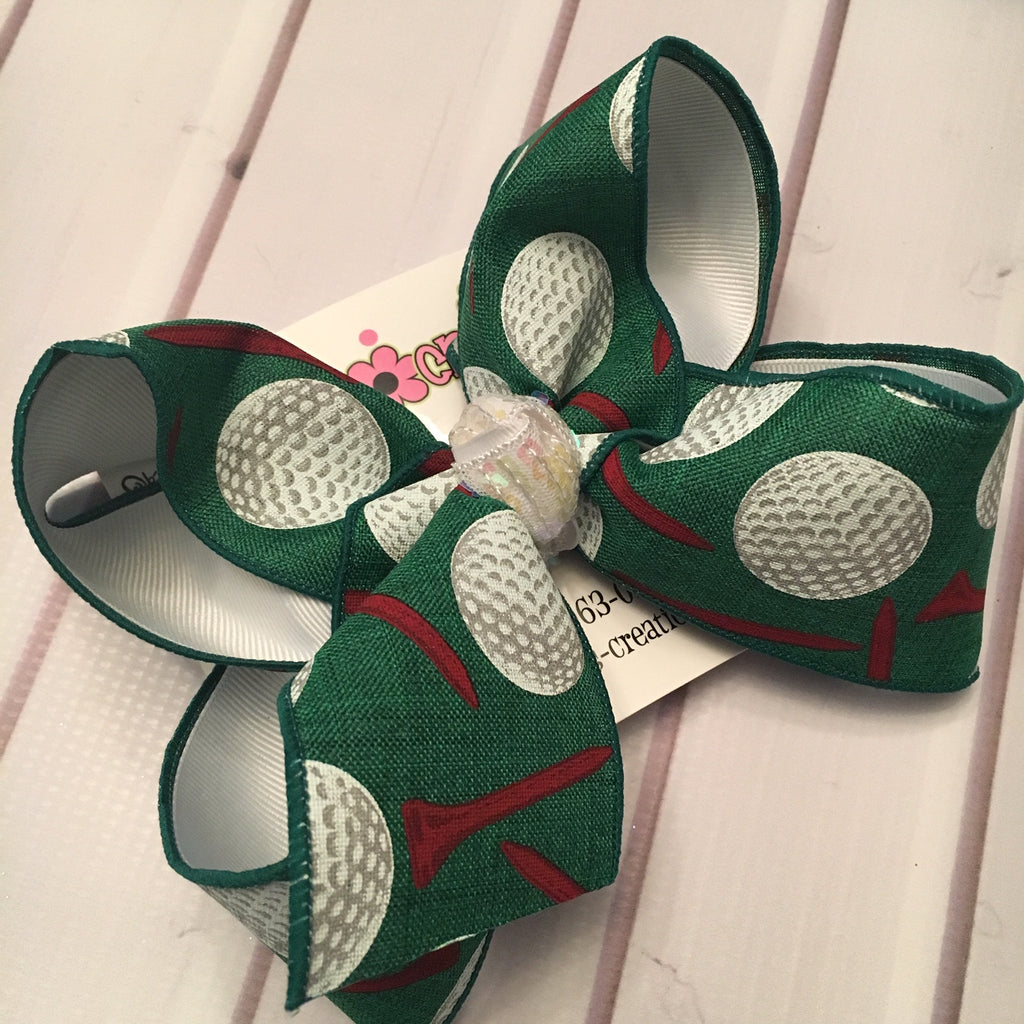 Golf Print Jumbo or Large Layered Hair Bow