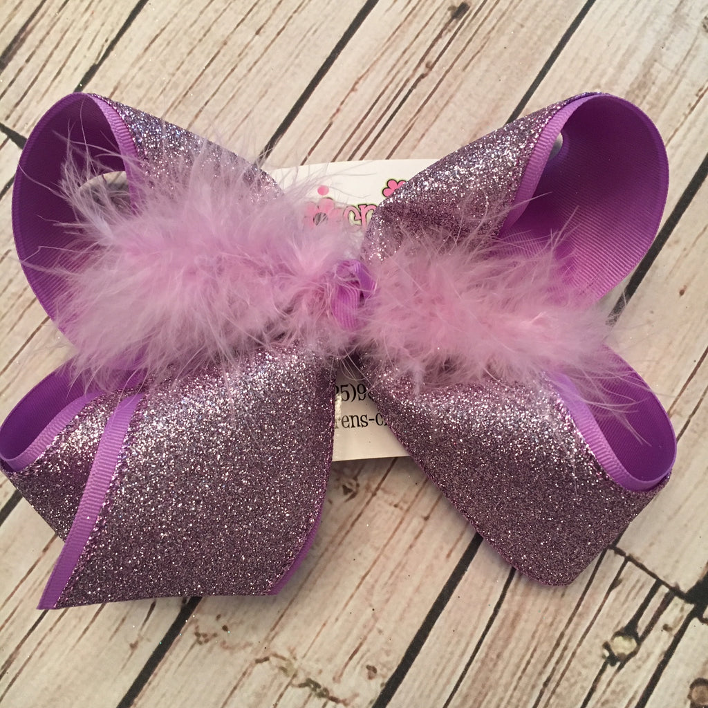 Lavender Glitter Ribbon Jumbo or Large Layered Hair Bow