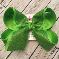 Lime Glitter Ribbon Jumbo or Large Layered Hair Bow