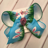 Peeking Ears Easter Bunny Print Jumbo or Large Layered Hair Bow