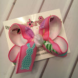 Pink Easter Bunny Patterns Medium or Small Layered Hair Bow
