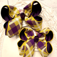 LSU Themed Purple/Yellow Plaid Jumbo Large Medium or Small Layered Hair Bow