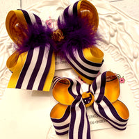 LSU Themed Gold/Purple Stripes Large Medium or Small Layered Hair Bow