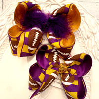 LSU Themed Football Purple/Gold Stripes Jumbo or Large Layered Hair Bow