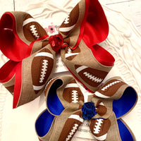 Canvas Football Print School/Team Jumbo or Large Layered Hair Bow