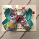 Easter Pastel Peeps Print Jumbo Large Medium or Small Single Layer Hair Bow