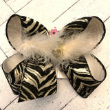 Glitter Tiger Print Large Layered Hair Bow