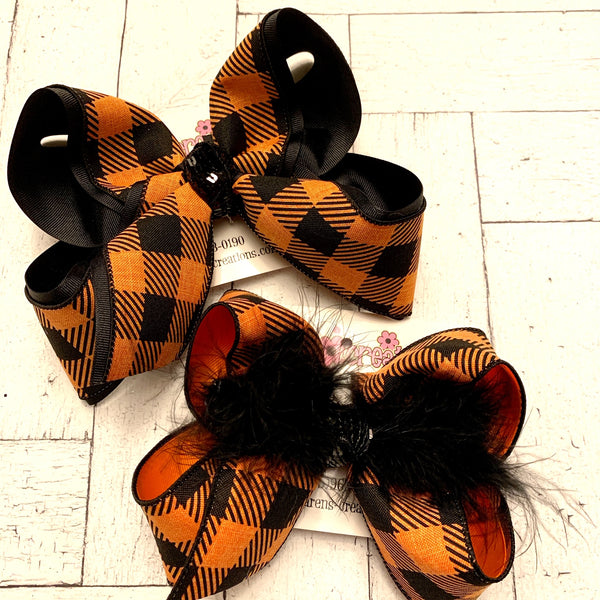 Black and Orange Buffalo Plaid Jumbo or Large Layered Hair Bow