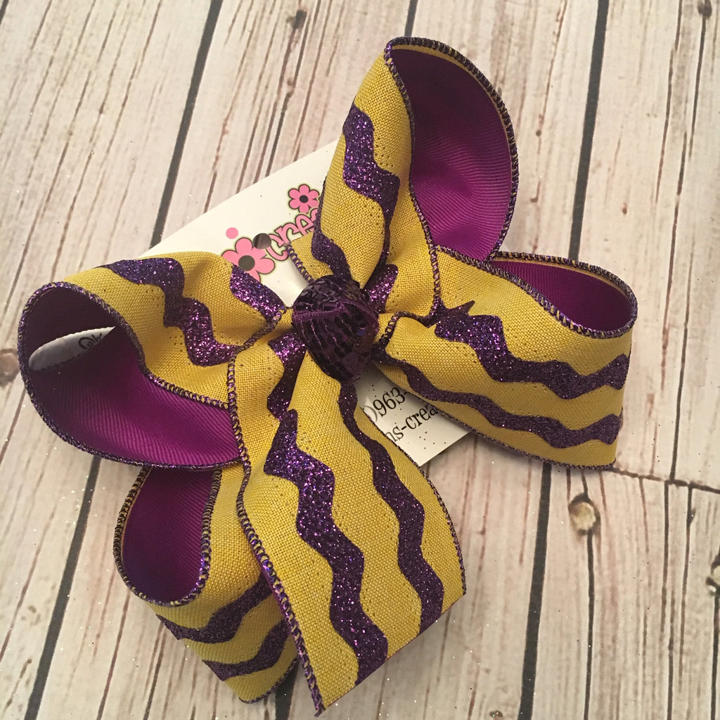 LSU Themed Yellow Gold w/Purple Glitter Ric Rac Jumbo or Large Layered Hair Bow