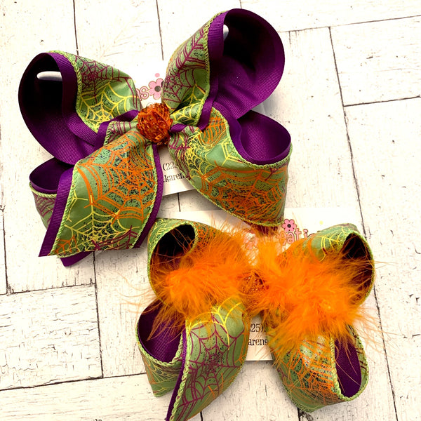 Halloween Lime Glitter Spider Web Print Jumbo or Large Layered Hair Bow