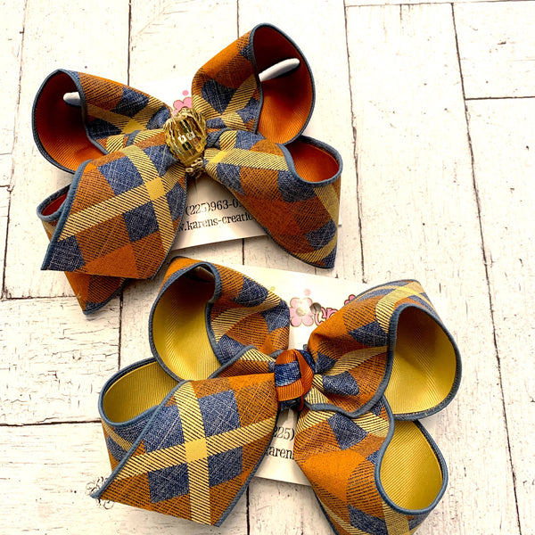 Fall Canvas Denim Plaid Jumbo or Large Layered Hair Bow