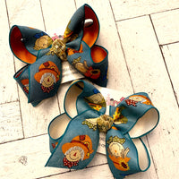 Fall Teal Scarecrow Fun Jumbo or Large Layered Hair Bow