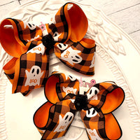 Halloween Boo Ghost Black/Orange Buffalo Plaid Jumbo or Large Layered Hair Bow