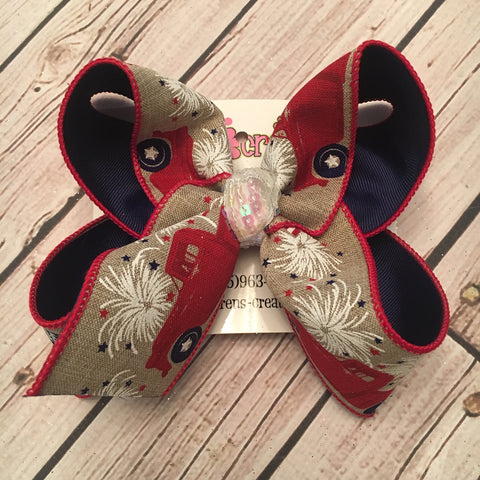 Patriotic Vintage Truck w/Fireworks Jumbo or Large Layered Hair Bow
