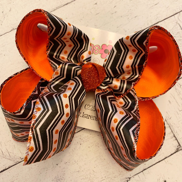 Halloween Chevron/Glitter Dots Jumbo or Large Layered Hair Bow