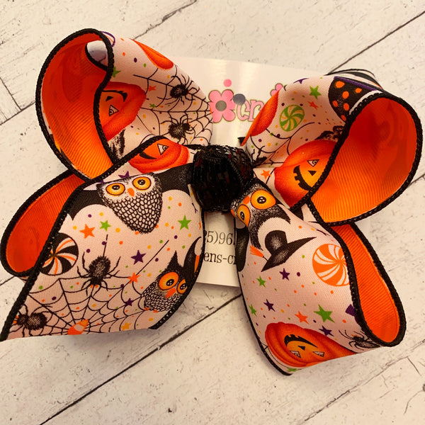 Halloween Owl/Bat/Jack-o-Lantern Print Jumbo or Large Layered Hair Bow