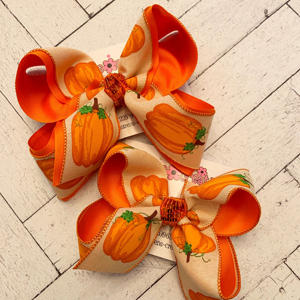 Canvas Pumpkin Print Jumbo or Large Layered Hair Bow