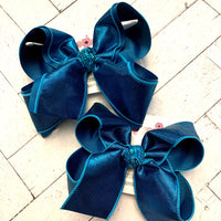 Teal Metallic Shimmer Dupioni Silk Jumbo or Large Layered Hair Bows