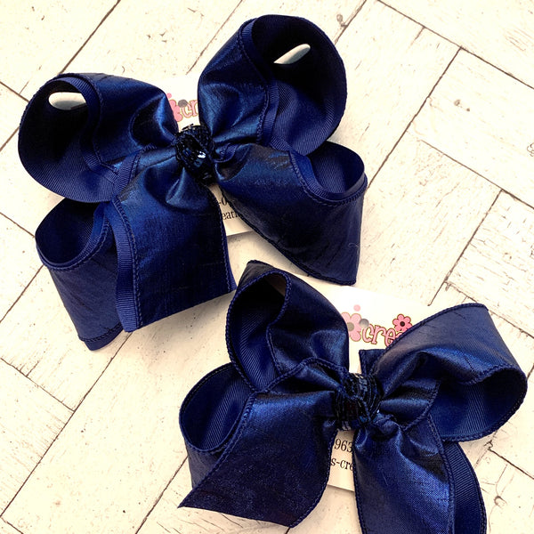 Navy Metallic Shimmer Dupioni Silk Jumbo or Large Layered Hair Bows