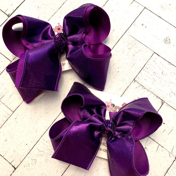 Purple Metallic Shimmer Dupioni Silk Jumbo or Large Layered Hair Bows