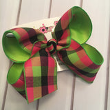 Summer Neon Plaid Jumbo or Large Layered Hair Bow