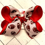 White Football Print School/Team Jumbo or Large Layered Hair Bow