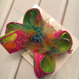 Birthday Glitter Balloons Medium or Small Layered Hair Bow