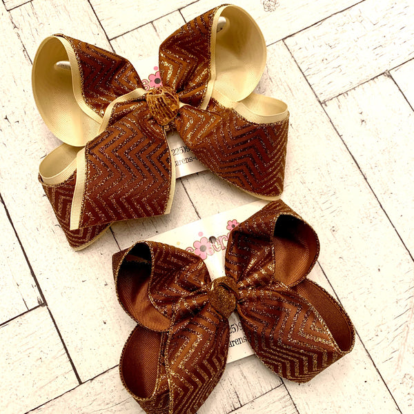 Brown Variegated Glitter Chevron Pattern Jumbo or Large Layered Hair Bow