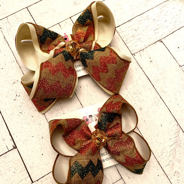 Canvas Fall Glitter Chevron Pattern Jumbo or Large Layered Hair Bow