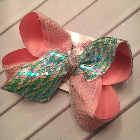 Beachy/Iridescent Silver Flip Reversible Sequin Tail Jumbo or Large Layered Hair Bow