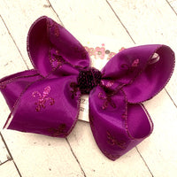 LSU Themed Purple Glitter Fleur De Lis Print Jumbo or Large Layered Hair Bow