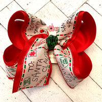 Christmas Letters to Santa Holiday Jumbo or Large Layered Hair Bow