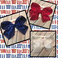 Red White or Blue Sequin Jumbo or Large Hair Bow