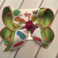 Moonstitch Summer Flip Flop Print Jumbo or Large Layered Hair Bow