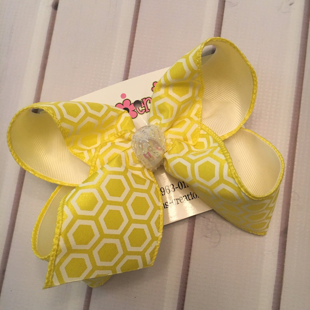 Yellow Honeycomb Print Jumbo or Large Layered Hair Bow