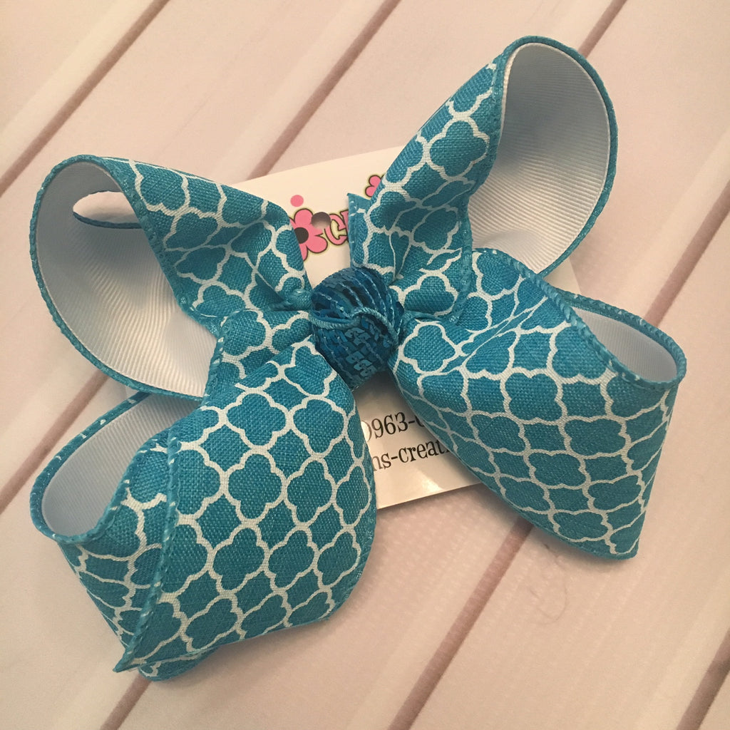 Turquoise Canvas Quatrefoil Print Jumbo or Large Layered Hair Bow