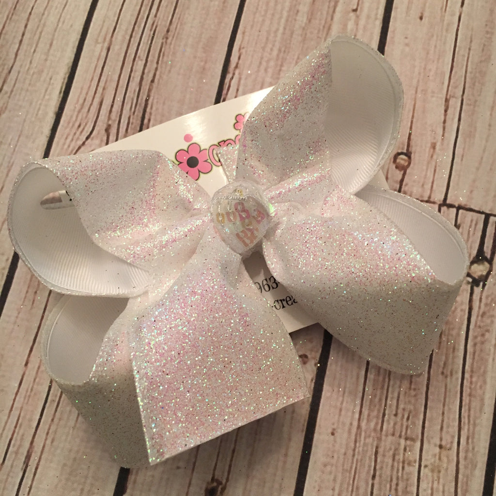 White Sparkle Glitter Ribbon Jumbo or Large Layered Hair Bow