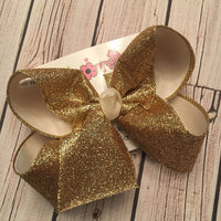 Gold Sparkle Glitter Ribbon Jumbo or Large Layered Hair Bow