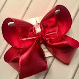 Red Metallic Shimmer Jumbo or Large Layered Hair Bow