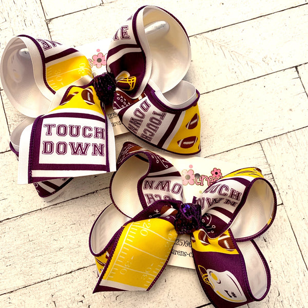 LSU Themed Game Day Print Jumbo or Large Layered Hair Bow