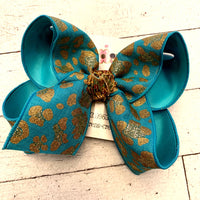 Teal Turquoise Glitter Leopard Print Jumbo or Large Layered Hair Bow