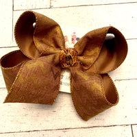 Fall Brown Canvas w/Metallic Chevron Print Jumbo or Large Layered Hair Bow
