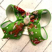 Lime Canvas Gingerbread Cookie Print Jumbo or Large Layered Hair Bow