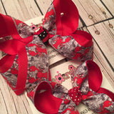 Crawfish on Newspaper Print Large Medium or Small Layered Hair Bow
